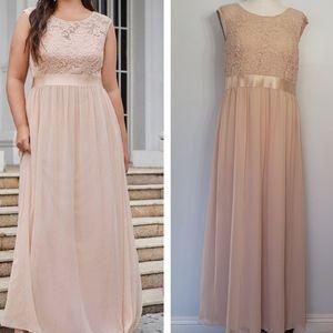 EVER PRETTY blush lace bodice plus evening dress